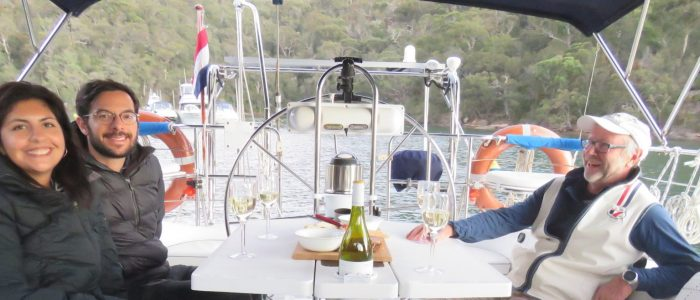 Enjoying a glass of wine at anchor