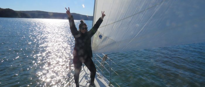 Party time, grooving on the foredeck with SailTas